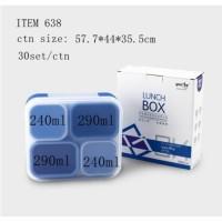 LUNCHBOX YOOYEE 638 ANTI TUMPAH - TEMPAT BEKAL 4 SEKAT BPA FREE
