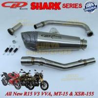 Knalpot Racing Motor CLD Shark Series ALL NEW R15 V3 VVA MT15 XSR155