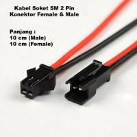 Kabel Soket SM 2 pin Konektor Famale 10cm Male 10cm