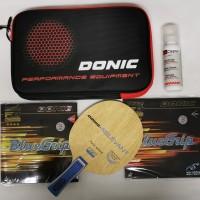 Bet Pingpong Donic Relevant plus karet Donic Bluegrip lengkap Set