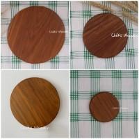 Alas Gelas / Tatakan Gelas / Coaster (Besar) Kayu Jati ASLI - 8.5 x 0.7 cm, natural kayu