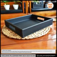 30x20x5 cm - Nampan Kulit Premium / Baki / Tray Kulit Sintetis Hotel - Hitam