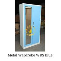Lemari pakaian metal plat 2 pintu - Biru