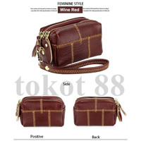 Dompet Kartu Leather dompet coin kunci wanita foshion girl wallet - Cokelat
