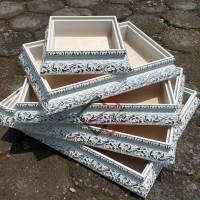Kotak hantaran ukir putih silver 1 set isi 5 - kotak seserahan