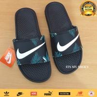 Sandal Slop Pria Wanita Flip Flop-Karet-Import-Black Flower