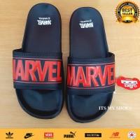 Sandal Slop Pria Wanita Marvel-Import-Hitam Merah