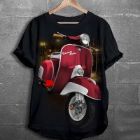 Baju Kaos Distro Cowo Pria Motor Vespa Merah GOOD QUALITY