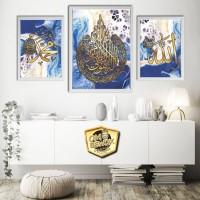 Set Kaligrafi Allah Muhammad Ayat Kursi 55 hiasan dinding islami murah