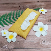 TECHNOZIO Tissue Bag/Tissue Organizer/Tempat Tissue Motif Urat Kuning
