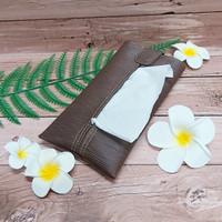 TECHNOZIO Tissue Bag/Tissue Organizer/Tempat Tissue Motif Urat Coklat