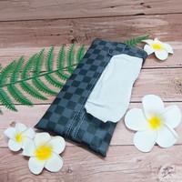 TECHNOZIO Tissue Bag/Tissue Organizer/Tempat Tissue Motif Skak Abu