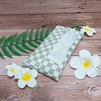 TECHNOZIO Tissue Bag/Tissue Organizer/Tempat Tissue Motif Skak Cream