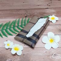 TECHNOZIO Tissue Bag/Tissue Organizer/Tempat Tissue Garis Coklat Tua