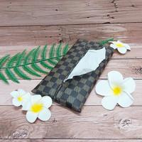 TECHNOZIO Tissue Bag/Tissue Organizer/Tempat Tissue Motif Skak Coklat