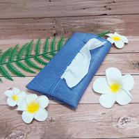 TECHNOZIO Tissue Bag/Tissue Organizer/Tempat Tissue Motif Urat Biru