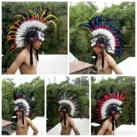 topi indian/warbonnet punk topi bulu ayam topi carnaval