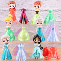 Disney Princess Frozen Jasmine Tinkerbell Figure Set Dress Clip On