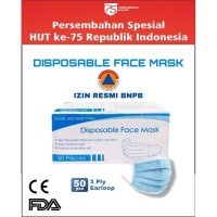 MASKER 3 PLY DISPOSABLE FACE MASK ISI 50 PCS