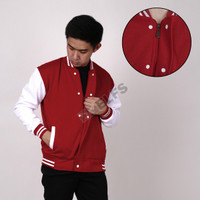 Elfs Limited Edition Jaket Pria Baseball Varsity Indonesia Merah Putih