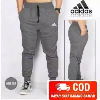 Celana Pria Joger Sweatpants Training Adidas Bahan Premium - Abu Tua, M