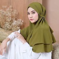 Jilbab Bergo Maryam 2 Layer / Hijab Instan Non Pet / Kerudung Tali
