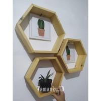 1 set (3pcs) Rak dinding kayu hexagon / hiasan dinding kayu rak bunga