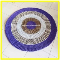 Rug ungu mendong 120cm / karpet anyaman / rug seagrass