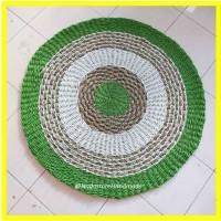Rug anyaman seagrass mendong Hijau Stabilo 120 cm / karpet anyaman