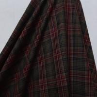 Kain Kotak Semi Wool ( Dasar Coklat Garis Merah )