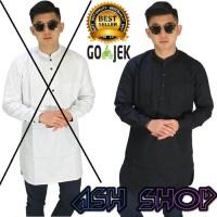 Baju Koko Pendek Pria Kemeja Gamis Kurta Cowok Muslim Putih AS-101