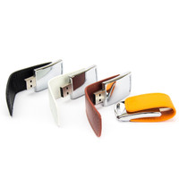 Souvenir Promosi Logo Perusahaan USB Flashdisk Kulit Leather Eksklusif