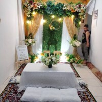 sewa dekorasi backdrop akad nikah/wedding PREMIUM +meja akad lesehan
