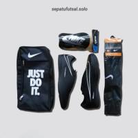 PAKET SEPATU FUTSAL Nike Hyepervenom, ACC, Tiempo, MERCURIAL X - Htam List Putih, 39