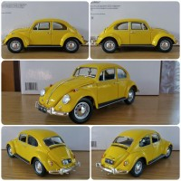 Diecast Miniatur Greenlight VW Beetle Yellow Bumblebee skala 1:18