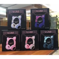 Cat Ear Headphone Wireless Bluetooth LED /Headphone Bluetooth Karakter - FULL PINK, All Size