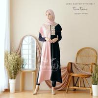 vSamantha Long Dress Atau Daster Belt Twotone Rayon