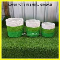 Keranjang Anyaman Cover Pot Tanaman Bahan Seagrass Hijau Gradasi