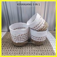 Keranjang Anyaman Cover Pot Tanaman Bahan Seagrass motif Natural Arrow