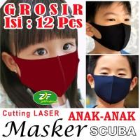 GROSIR Masker SCUBA Korea ANAK - Kain Warna POLOS Cutting LASER + Neci