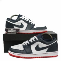 Sepatu Sneakers Nike Air Jordan Retro 1 Low Obsidian Ember Glow Navy