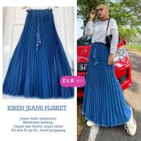 Rok Panjang Wanita Kiren Jeans Plisket Cla