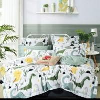 Sprei katun jepang motif dino hijau putih 120x200x30 cm