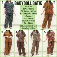 Babydoll Batik Baju Tidur Set Piyama Babydoll Katun Celana Panjang J1