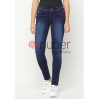 Celana Panjang Jeans Pensil Wanita Skinny Navy Spray stretch - Dahlia