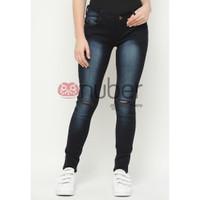 Celana Panjang Jeans Pensil Wanita Skinny HItam Spray stretch - Dahlia