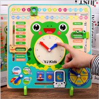 multifunctional calendar clock, kalender interaktif untuk anak mainan