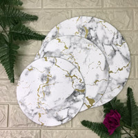 Premium Cake Boards Round Marble Editions | Tatakan Kue | Alas Kue - Gold Marble W, 22