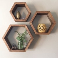 SET 3pcs Rak dinding hexagon ukuran 34cm 28cm 23cm