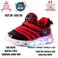 Sepatu Anak Laki - Laki Sport Led New Spiderman